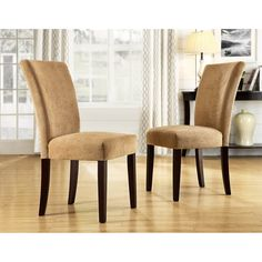 Have to have it. Homelegance Royal Camel Chenille Parson Chairs - Espresso - Set of 2 - $259.99 @hayneedle
