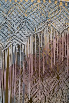 anthro macrame displays by Jessica Pezalla (and anthro display team) via Bramble Workshop (jesicca's design studio) | jersey fabric strips on metal supports