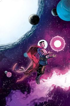 """Doctor Strange ( Variant (Artist Variant)""""Another variant of Space Supreme. Honestly the art of space and strange will be a good mix at least. Heros Comics, Marvel Dc Comics, Marvel Heroes, Marvel Characters, Marvel Movies, Doctor Strange Comic, Doc Strange, Strange Art, Marvel Universe"""