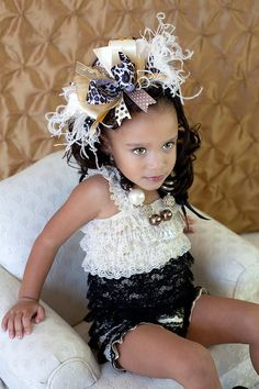 Golden Glamor Leopard and Bling Over the Top Hair Bow with matching headband on Etsy, $19.99