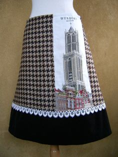 Dom Tower Utrecht embroidery, A-line skirt, fully lined, upcycled wool houndstooth, corduroy, lace rim, caramel coffee, size Large