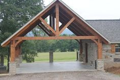 My uncle in Alabama built a similar design on his land and we used the area for family reunion buffet tables. Hand hewn timber frame carport - Rustic - Shed - Nashville - by Appalachian Log and Timber Homes Metal Building Homes, Building A House, Building Ideas, Metal Homes, Building A Carport, Gazebo Foyer, Future House, Carport Modern, Double Carport