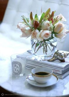 ♔  books-cup-of-coffee-roses-shell