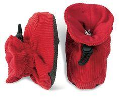 Rød+tøffel+i+cordfløyel,+med+tynn+sklisikker+såle.+Str+18-23