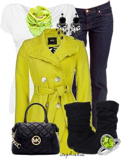 Outfit : Lime Green Coat & Scarf. White Top. Black Jeans, Purse minus those boots