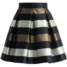 Chicwish Cute Stripes Pleated Skirt in Black (56 CAD) ❤ liked on Polyvore featuring skirts, black, knee length pleated skirt, striped pleated skirt, stripe skirt, black skirt and striped skirt