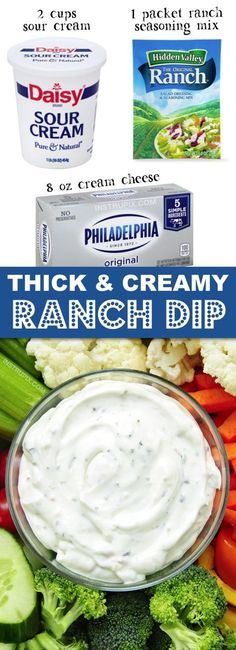 Dip Recipes 106397609933836230 - The BEST thick ranch dip for chips and veggies! This quick and easy homemade recipe is made with just 3 ingredients: cream cheese, sour cream and a Hidden Valley Ranch packet. Cheese Appetizers, Appetizers For Party, Appetizer Recipes, Party Dips, Fruit Appetizers, Italian Appetizers, Sauce Pour Chips, Graham Crackers, Dips Für Chips