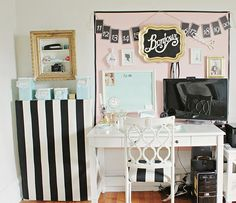 Pretty office (great ideas for when you can't paint the walls)!