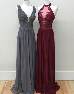 Mismatched chiffon long bridesmaid dresses,lace appliqued top and chiffon skirt