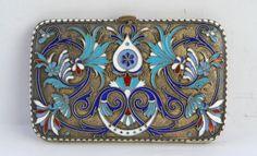 Zigarettendose 84 Silber Russland, Emaille Arbeit, Meisterstempel B.A.,  um 1900