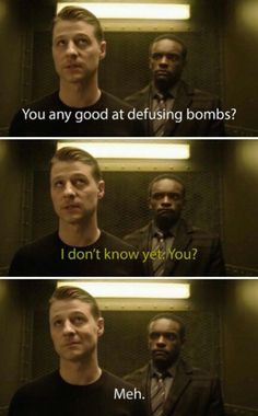 """You any good at defusing bombs?"" - Jim and Lucius #Gotham"