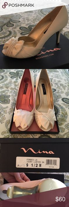 """Ivory Nina Forbes Evening Pumps Nina Forbes evening pumps in ivory color.  3 1/4"""" heel.  Perfect bridal / wedding shoe!  Bought these for my wedding, but never wore them because they were too high for my dress.    Perfect condition in original wrapping.  Still retailing at Nordstrom and Macy's for $85. Nina Shoes Heels"""