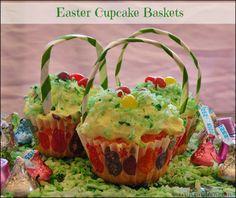 Easter Cupcake Baskets! @HERSHEY'S Chocolate #BunnyHop #sponsored