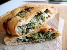 Spinach & Goat Cheese Calzones!  I added mushrooms, too!