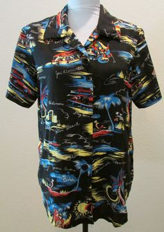 Women's Vintage Resort Hawaiian  Top Shirt Blouse 1970 Black Tropical by timegonebyvintage. Explore more products on http://timegonebyvintage.etsy.com