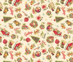 Retro Christmas Decals fabric by juliamonroe on Spoonflower - custom fabric