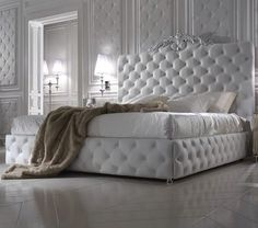 Luxury Italian Bed With Wide Nubuck Leather Headboard - Juliettes Interiors Luxury Bedroom Design, Luxury Interior Design, Italian Furniture, Luxury Furniture, White Furniture, Furniture Design, Contemporary Furniture, White Leather Bed, White Upholstered Bed