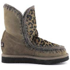 MOU Eskimo Wedge Short Boots Dark Stone/Front Leopard Dark Stone - MOU