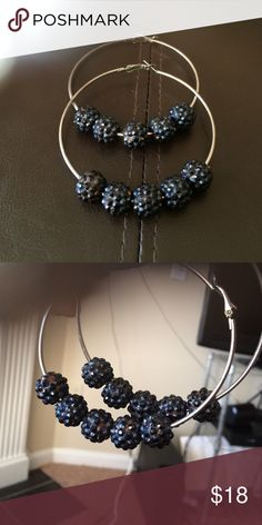 Popular Hoop Earrings w/crystal encrusted balls Stylish gorgeous pair of hoops with 5 iridescent marcasite encrusted spheres (balls). In like new condition. Jewelry Earrings