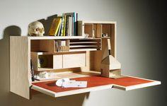 Wall Mounted Drop Down Table Falling Dansu Desk by Joseph Walsh Plywood Furniture, Home Furniture, Furniture Design, Hidden Desk, Drop Down Table, Wall Desk, Desk Cubby, Shelf Desk, Home Office Desks