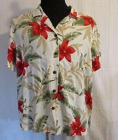 Caribbean Joe Sz 2XL Hawaiian Shirt Cream w/Green Red Tan Flowers