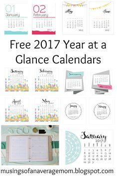 Free printable 2017 Year at a Glance Calendars