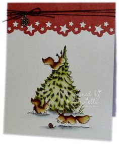 Image - Red Squirrels Christmas Tree Colouring - Distress Ink Reinkers My Minds Eye papers Stazon Ink Pad The Langton Watercolour paper Button Twine from The Ribbon Girl Joanna Sheen Starry Night Edger Die Snowflake metal charm All Things Christmas, Christmas Crafts, Christmas Trees, Red Squirrel, Paper Crafts, Card Crafts, Fall Cards, Watercolor Cards, Card Tags