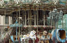 Double tiered carousel in Strasbourg, France.
