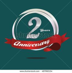 2 years silver anniversary logo with ring composition and red ribbon. anniversary logo for birthday, celebration, wedding and party