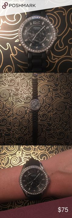 Women's Fossil watch Women's Fossil watch. Black rubber band, silver face. Excellent condition. Works great, just needs a battery. Fossil Accessories Watches
