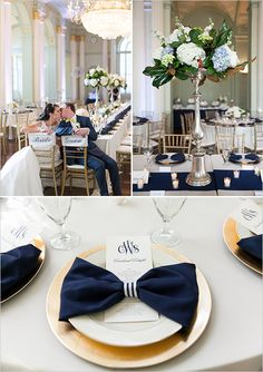 Rent gold chargers. Use striped ribbon as napkin ring.