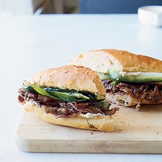 Bulgogi-Style Pepper Steak Sandwiches | These fast hoagies from F&W's Kay Chun are based on Korean bulgogi—grilled marinated beef. Chun tosses steak, peppers and onions in a tasty mix of soy sauce, garlic and ginger before grilling.