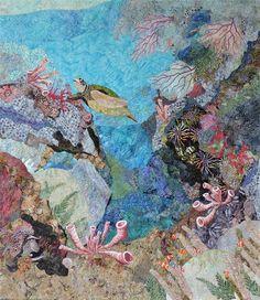 History <b>History.</b> Fiber Art Quilts-Seascape. Beach Themed Quilts, Ocean Quilt, Turtle Quilt, Fiber Art Quilts, Crazy Quilt Blocks, Crazy Quilting, The Quilt Show, Seascape Art, Landscape Quilts