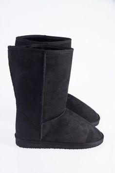 ISABELL BAMSESTØVLE  Soft black teddy boots