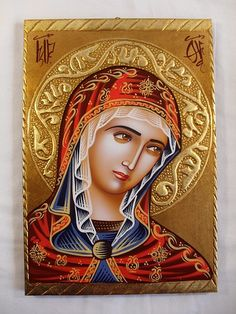 Hand Painted on wood Romanian Orthodox Icon --- Holy Mother Mary Santa Maria, Joseph, Verge, Religious Paintings, Hail Mary, Blessed Virgin Mary, Orthodox Icons, Mother Mary, Painting On Wood