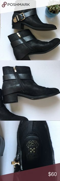 {Vince Camino} Romeo Booties black leather booties with gold hardware • in overall great condition, crease by toes from natural wear • minor scuff on buckle noted in picture • these are such cute boots, looking for a new home Vince Camuto Shoes Ankle Boots & Booties