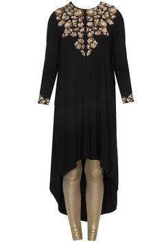 Black sequins and pearl embellished tunic with gold shimmer churidaar pants available only at Pernia's Pop Up Shop.
