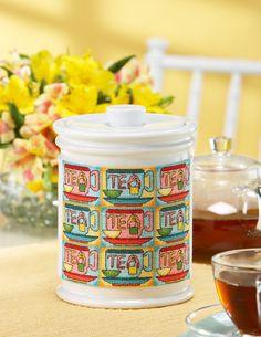 Kitchen Essentials Cross Stitch Tea Cannister