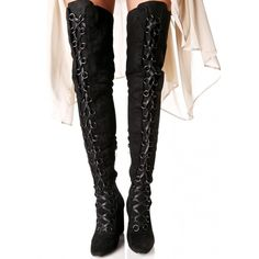 Black Suede Lace-Up Thigh Boots ($65) ❤ liked on Polyvore featuring shoes, boots, over-the-knee suede boots, thigh high lace up boots, black thigh-high boots, over the knee lace up boots and black over-the-knee boots
