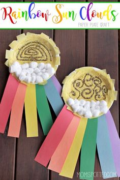 Celebrate spring with this fun Rainbow Sun Clouds Paper Plate Craft! Fun for toddlers, preschool & even bigger kids! Great for St. Patrick's Day too!