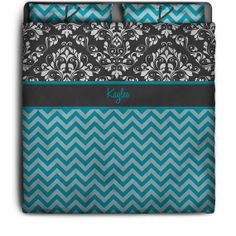 Check out this Blue Chevron Bedding Personalized Duvet Cover with Gray Damask Top. Starting at Just $139.99
