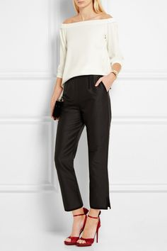 Tibi ivory off-the-shoulder stretch-crepe top w/ Isa Arfen(black cotton and silk-blend faille straight-leg pants)