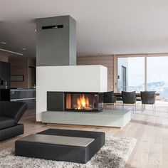 Výsledek obrázku pro 3 sided fireplace with reading bench - Fireplace Modern 3 Sided Fireplace, Home Fireplace, Modern Fireplace, Fireplace Design, Fireplaces, Fireplace Ideas, Fireplace Console, Concrete Fireplace, Fireplace Mantels