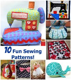 10 fun sewing patterns!  Lots of fun stuff on this blog!