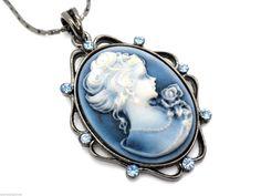 New Cameo Blue Crystal Gray Pendant Women's Necklace #SensualGems #Pendant