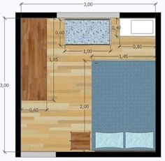 9 ways to distribute furniture for a couple and a baby in a 3 x 3 bedroom & House decoration Tiny Bedroom Design, Home Room Design, House Design, Couple Bedroom, Small Room Bedroom, Bedroom Decor, Small Room Layouts, Bedroom Layouts, Small Bedroom Inspiration