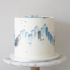 36 Fall Wedding Cakes That WOW ❤ fall wedding cakes white decorated with pearls and hand painted yellow blue abstract soulcakeshop Pretty Cakes, Beautiful Cakes, Amazing Cakes, Fall Wedding Cakes, White Wedding Cakes, Gateau Baby Shower, Soul Cake, Sweet 16 Cakes, Cake Sizes