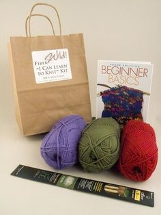 I Can Learn to Knit Kit by FiberWild on Etsy, $24.99