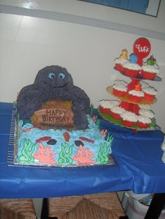 Octopus cake for Under the Sea themed party. Octopus legs made using rice crispy treats, body of octopus baked in glass bowl, coral and seaweed made using the color flow method. Cake all iced in buttercream icing.