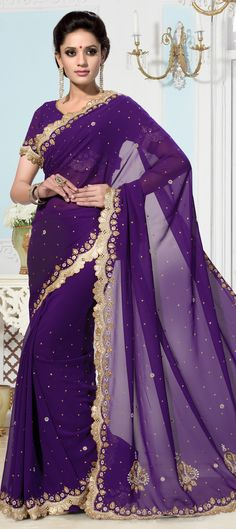 181313: Purple and Violet color family Bridal Wedding Sarees, Party Wear Sarees with matching unstitched blouse.